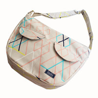 Bike messenger bag beige tribal geometric pattern