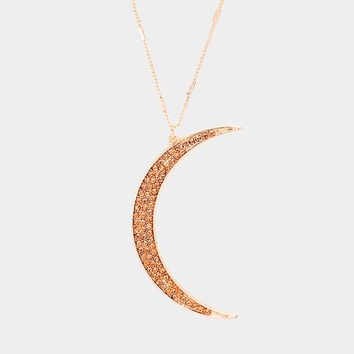 Long Crescent Moon Necklace Pave and Rose Gold