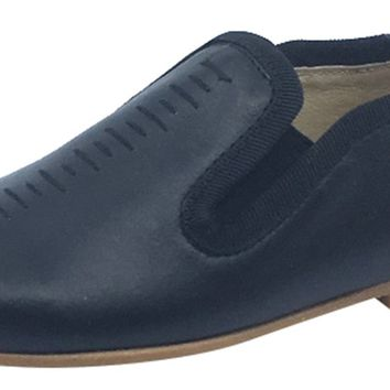 Luccini Boy's and Girl's Cut Iris Slip-On Smoking Loafer, Black