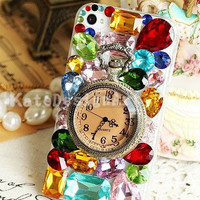 iphone case with colorful gem - pocket watch crystal iphone 4 case, unique iphone 4s case, cover of iphone 5 case