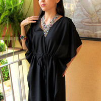 Black kaftan, caftan sundress, tunic cover up, summer dress, cruise wear, short caftan, cotton kaftan, maternity  wear