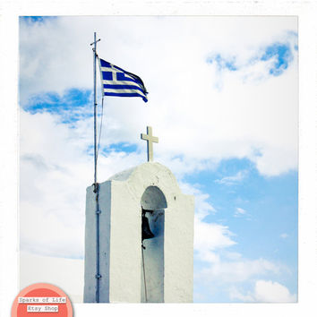 Greece square printable, travel photography digital download, Greek flag atop church, architecture, cross, wall art, home decor, sky, clouds