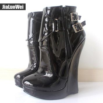 "jialuowei Sexy Fetish 7"" Inch EXTREME HIGH HEELS Strange Wedge Heeled Fashion Buckle Straps Ankle Boots Giaroslick Highheels"