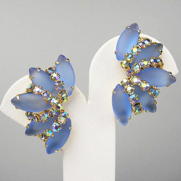 Blue Rhinestone Clip-on Earrings, Vintage 1970s Era Jewelry, Something Blue for the Bride Wedding, Frosted Open-Back Marquis & AB Chatons