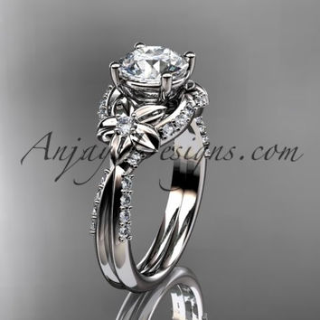 Unique platinum diamond flower, leaf and vine wedding ring, engagement ring ADLR220