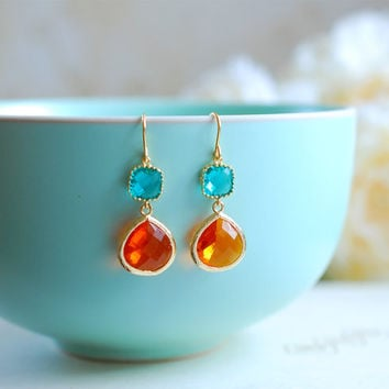 Blue and Orange Earrings, Gold Plated Blue and Tangerine Orange Glass Drop Earrings, Dangle, Bridesmaid, Wedding Jewelry, Christmas Gift