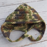 Crochet Baby Hat, Baby (3 -9 months) Baby Ear Flap Hat, Camouflage Ear Flap Hat, Crochet Ear Flap Hat, Baby