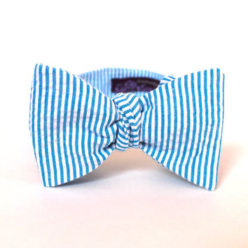 Men's Bow Tie - Turquoise Seersucker - Aqua Blue and White Stripe Bowtie - Adjustable