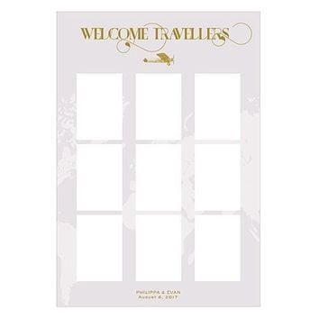 Personalised Seating Chart Kit With Vintage Travel Design (Pack of 1)
