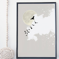 zen abstract sky illustration print, bird print, moon illustration, cloud art, home wall decor, apartment wall art, gift