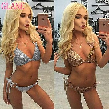 GLANE Brief 2017 Hot Sexy Top  Womens Bikini Set Push-up Padded Bra Sequin Swimsuit Swimwear Bathing Suit Two Piece SummerRussia