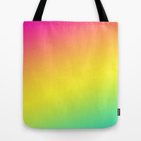 Pink Yellow & Blue Fade Tote Bag by daniellebourland