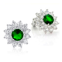Sunflower W. Green and Clear Round Cubic Zirconia Stud Earrings