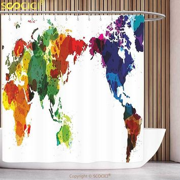 Decorative Shower Curtain Colorful Rainbow Colored Wold Map Grunge Style Abstract Global Universal Peace Inspired Art Multicolor