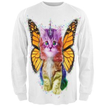 LMFCY8 Rainbow Butterfly Unicorn Kitten All Over Adult Long Sleeve T-Shirt