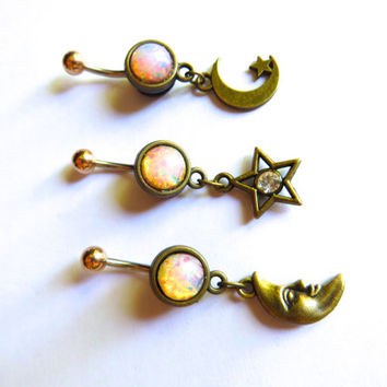 LIght Opal Galaxy Belly Button Ring Jewelry Navel Piercing Barbell Galactic Charm Celestial Bar Moon and Star Fire Bellyring