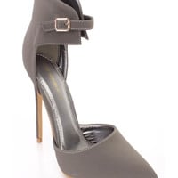Grey Single Sole Pointed Toe High Heels Nubuck