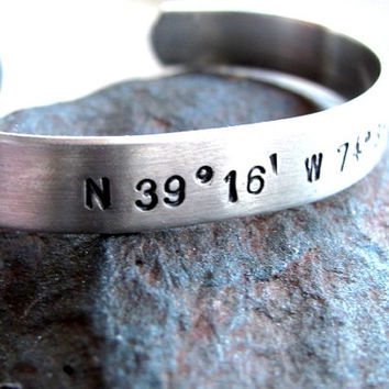 Latitude Longitude Bracelet PERSONALIZED to Your Favorite Place