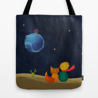 The Little Prince and Fox Looking at Starry Night Tote Bag by casehunter