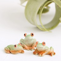 "Pack of 3 Mini Fairy Garden Frog Figurines - 1"" Wide"