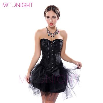 MOONIGHT Sexy Corsage black plus size body shaper Lace up boned Corset Bustier clubwear S-6XL waist corsets slimming