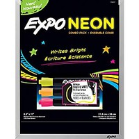 "Expo® Expo® Black Magnetic Dry-Erase Board with Neon Markers , 8"" x 11"""