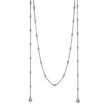 Lariat Necklace with Round CZs and Pear Drops