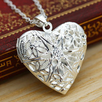 Photo Inside Fashion Women Hollow Sliver Heart  Pendant Long Chain Necklace Sweater Necklace Free shipping