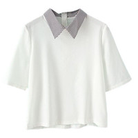 ROMWE Preppy Style Striped Zippered White T-shirt