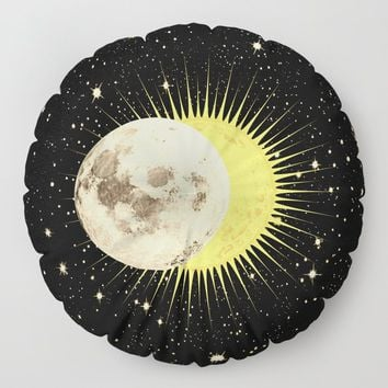 'Imminent Eclipse' Sun Moon & Stars Floor Pillow by inspiredimages