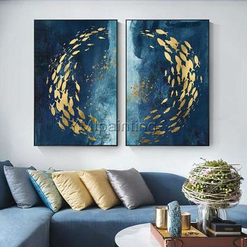 2 piece wall art abstract paintings on canvas original Gold art fishes ocean Sea Navy blue heavy texture cuadros abstractos hand painted