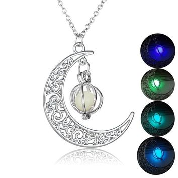 Glow In The Dark Moon Necklaces & Pendants Luminous Moon&Pumpkin Pendant Silver Plated Fluorescent