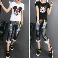Fashion Casual Cartoon Pattern Embroidery Sequin Round Neck Short Sleeve T-shirt Shirt Top Tee