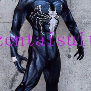 venom symbiote spiderman costume cosplay halloween zentai suit black spider-man superhero costumes for Adult/Kids