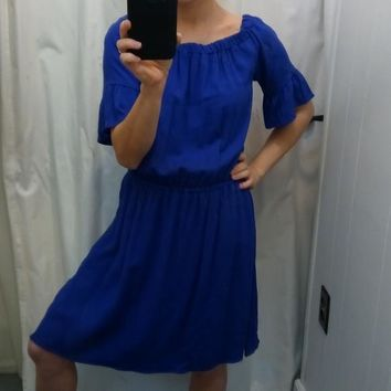 Royal Blue Midi 3/4 Sleeves Dress Small
