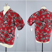 1980's Vintage / Torch / Hawaiian Shirt / Aloha Men's Shirt / Red Hibiscus / Floral Print / Made in Honolulu Hawaii / Size L / 44