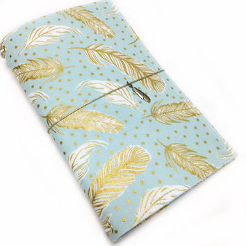 Fabric Fauxdori Travelers Notebook Travel Journal Planner Cover Midori cover Moleskine book style cover with charm- Blue with Gold Feathers