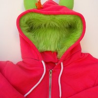 My Big Monster Hoodie  Pink and lime  Adult Unisex by dkoss2