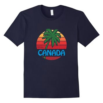 Hello From Canada Funny Palm Tree Beach T-Shirt