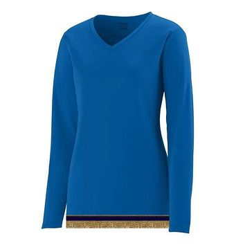 Women's Performance Royal Blue Long Sleeve T-shirt With Fringes