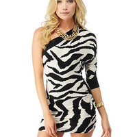 One Shoulder Zebra Print Mini Dress | Sexy Clothes Womens Sexy Dresses Sexy Clubwear Sexy Swimwear | Flirt Catalog