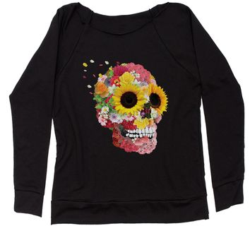 Sunflower Skull Slouchy Off Shoulder Oversized Sweatshirt