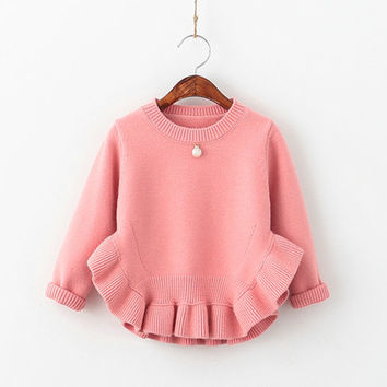 Children Sweater Knitted Sweater Pullovers Sweaters With Pearl Clothes Long Girls Sweater  Autumn Winter Kids 007