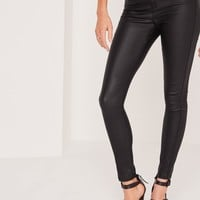 Missguided - Tall Vice High Waisted Coated Skinny Jeans Black