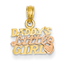 14K Yellow Gold Two Tone Rose Gold Daddy's Little Girl Girls Pendant
