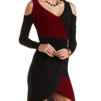 Cold Shoulder Color Block Asymmetrical Dress - Black Combo