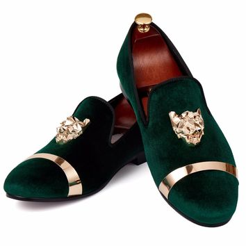 Harpelunde Men Loafer Shoes Green Velvet Slippers Animal Buckle Dress Shoes Gold Metal Circle Flats Size 7-14