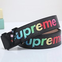 Supreme x LV co-branded color printing men's simple and stylish smooth buckle belt Black buckle
