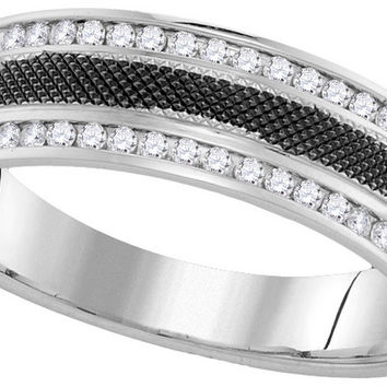 14kt White Gold Mens Round Diamond Black-tone Wedding Anniversary Band Ring 1/4 Cttw 110175