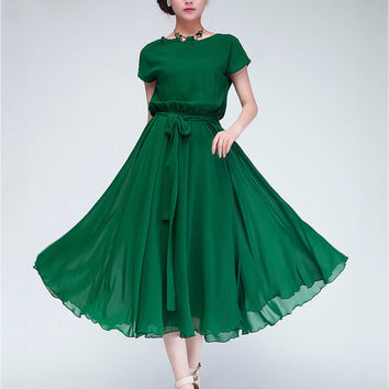Chiffon Short Sleeve Blouson A-Line Pleated Midi Dress with Belt